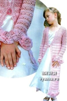 Детское пальто крючком для девочки