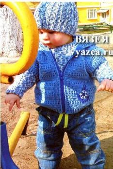 Свитер, жилет и шапка крючком для мальчика