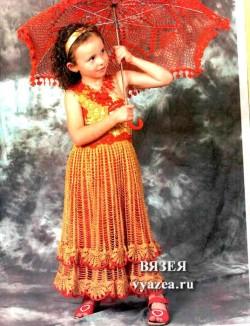 Детское платье крючком описание