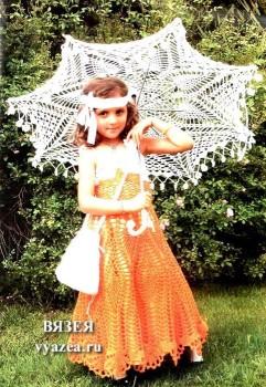 Платье и зонт для девочки крючком