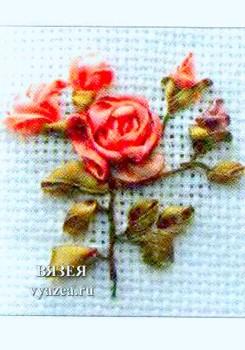 Роза из лент на стебле