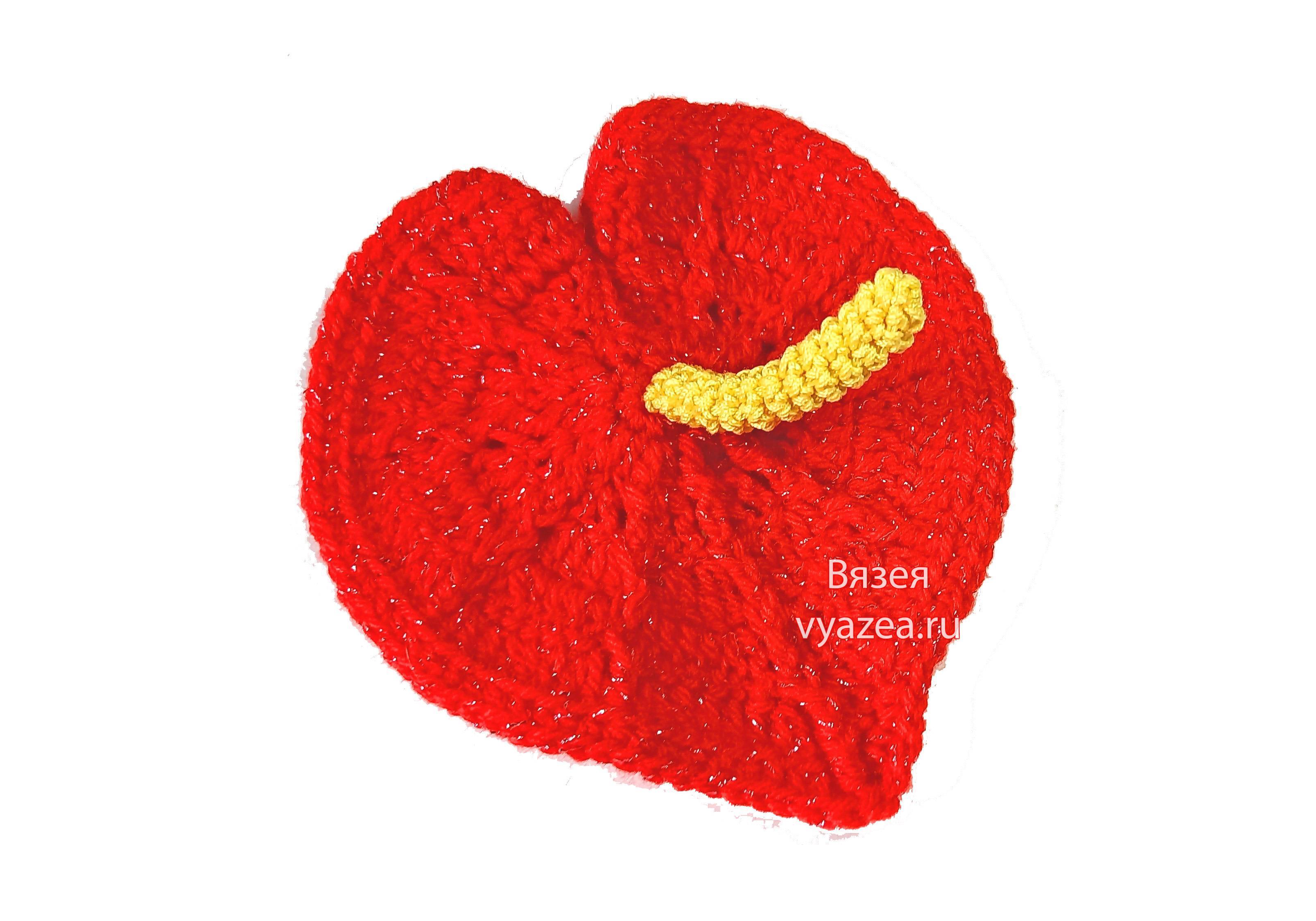 Цветок Антуриум крючком