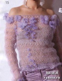Блуза связанная крючком на вилке