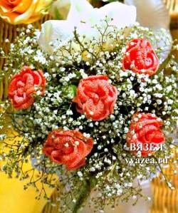 Роза вязаная крючком