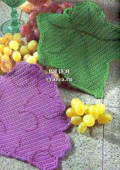 Прихватка крючком виноград
