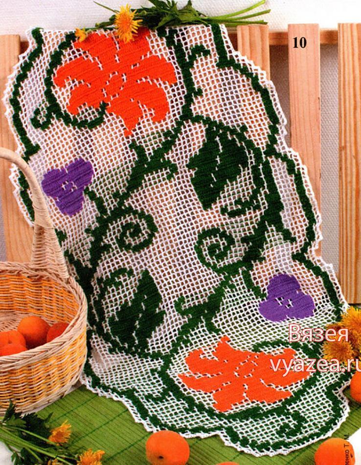 Цветное филейное вязание салфетка