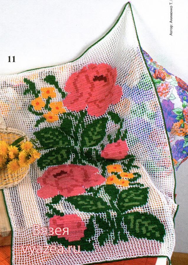 Салфетка разноцветное филейное вязание