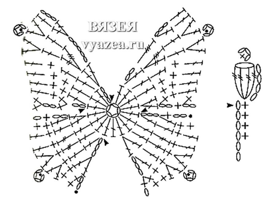 Бабочка крючком: