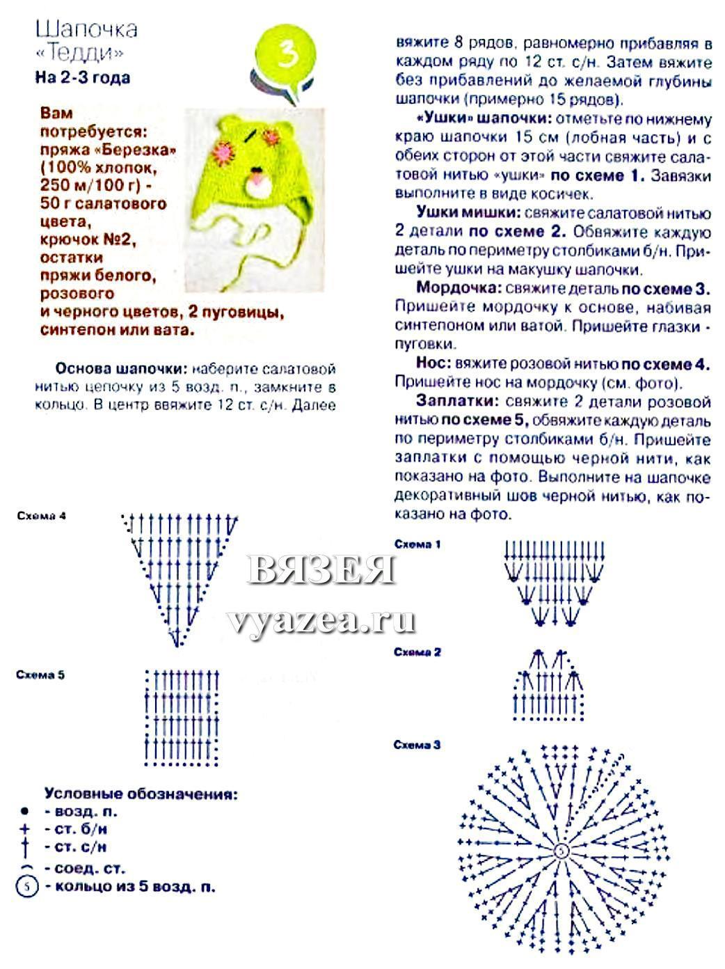 Схема вязания шапки медведя
