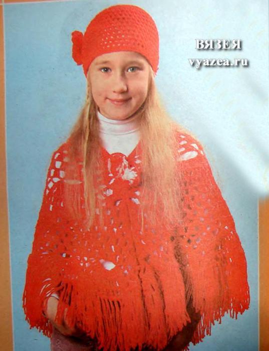 Вязание для девочки пончо крючком фото и видео - Мой секрет