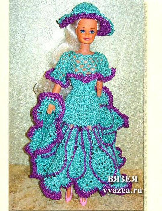 Вязание платьев на барби крючком 87