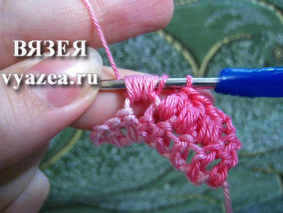 Вязание крючком мастер класс пышный столбик 77
