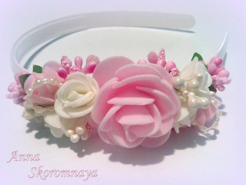 Украшение ободок с цветами и гребешками своими руками пошаговое фото 25