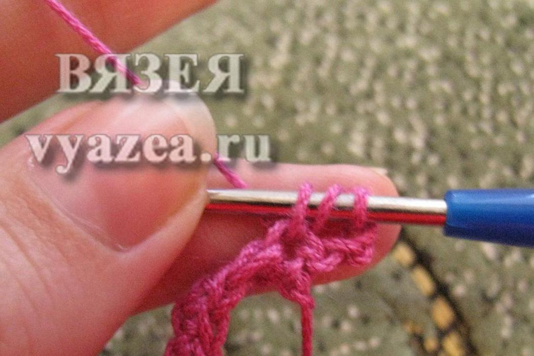 Вязание столбиком с накидом одним