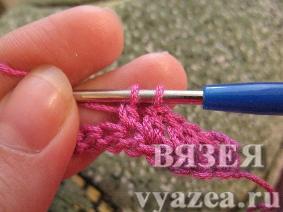 Вязание незаконченных столбиков с накидом крючком