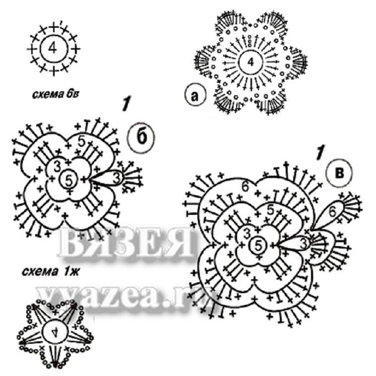 Схема вязания крючком лепестков 83
