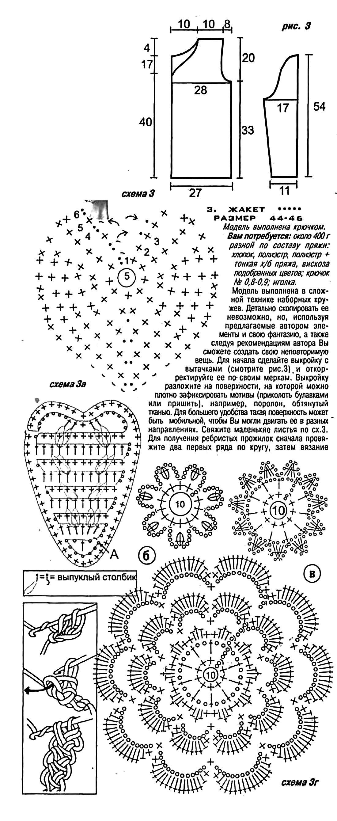 Жакет крючком рельефными столбиками схема и описание