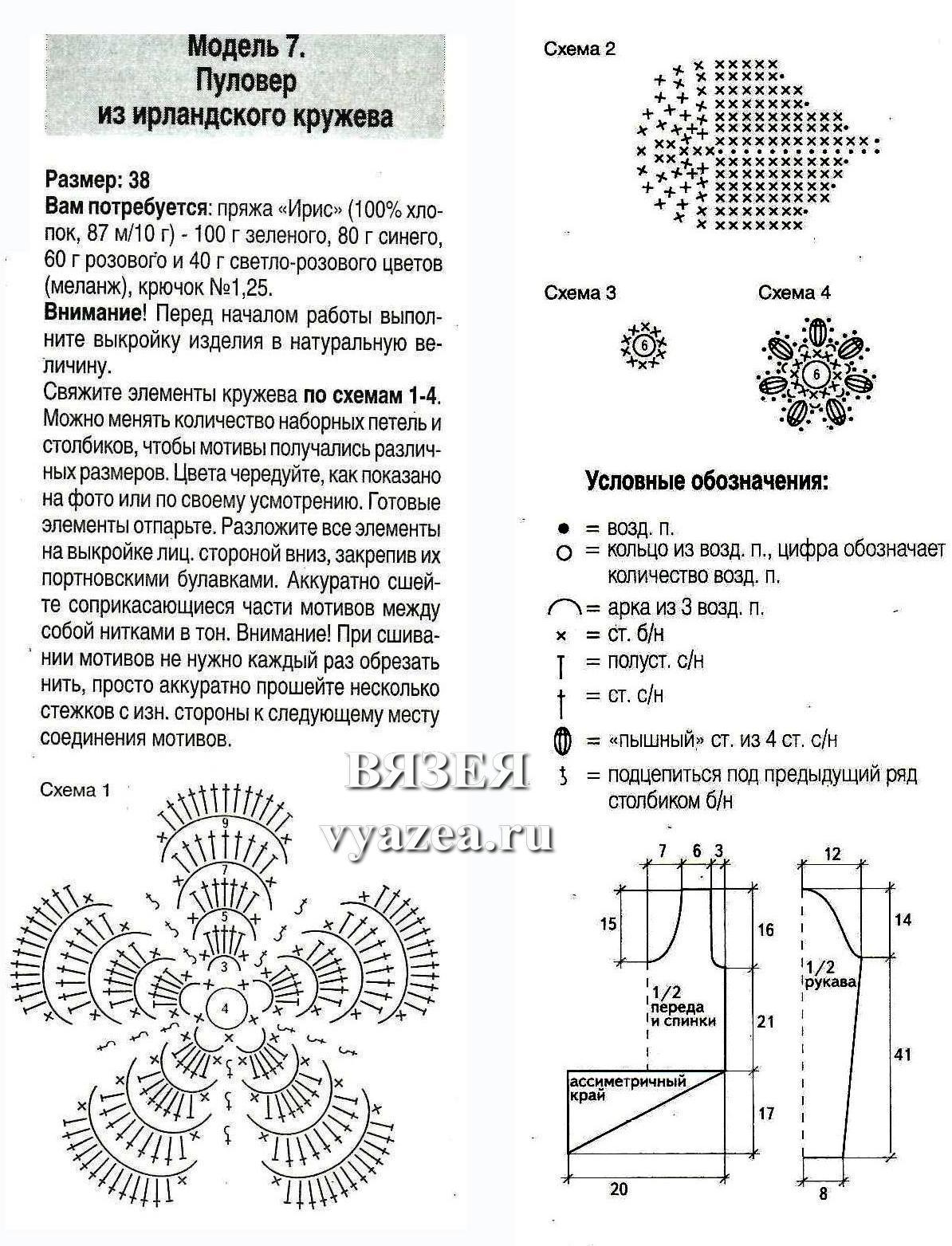 Схема вязание кофточка из ирландского кружева6