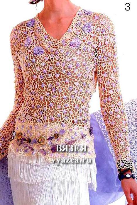 Блуза крючком из отдельных мотивов