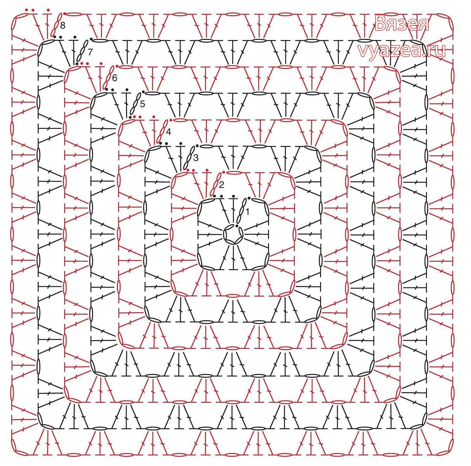 Крючок вязание красивых квадратных мотивов 12