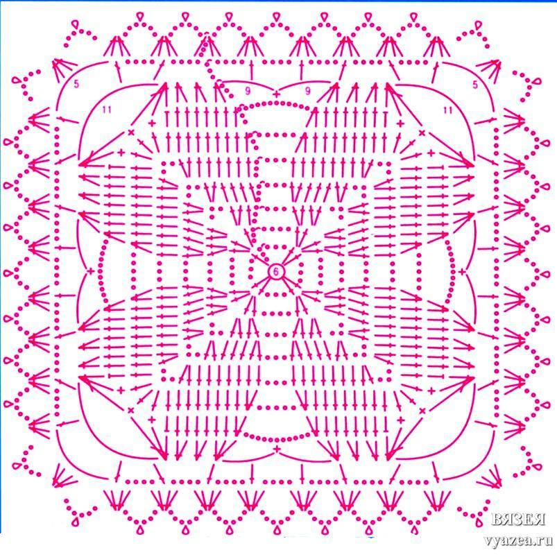 Узоры мотивы из квадратов крючком
