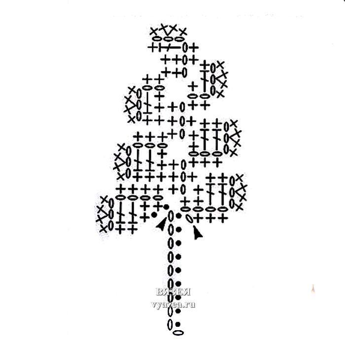 Схема вязание дубового листа