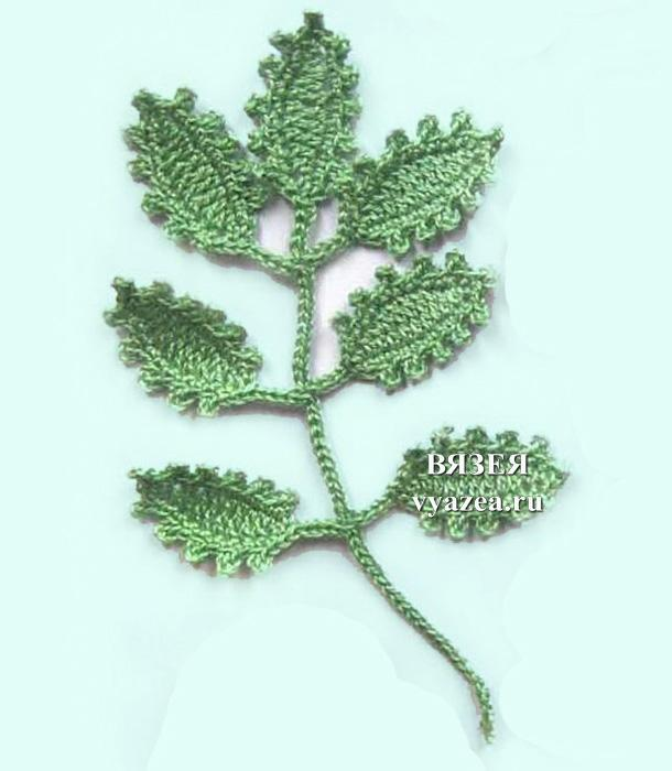 Вязание крючком веток листьев