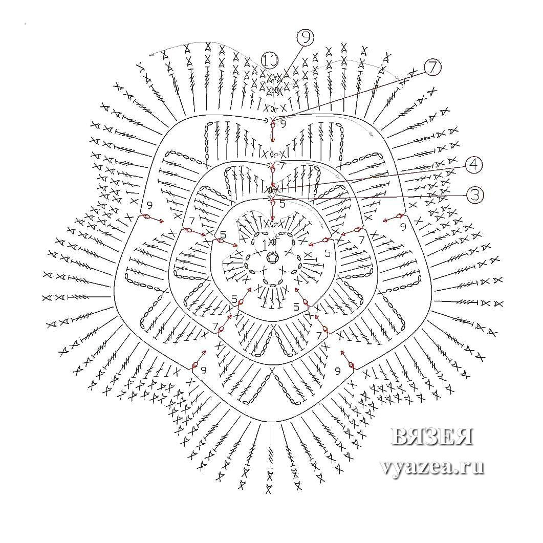 Цветы связанные крючком схема