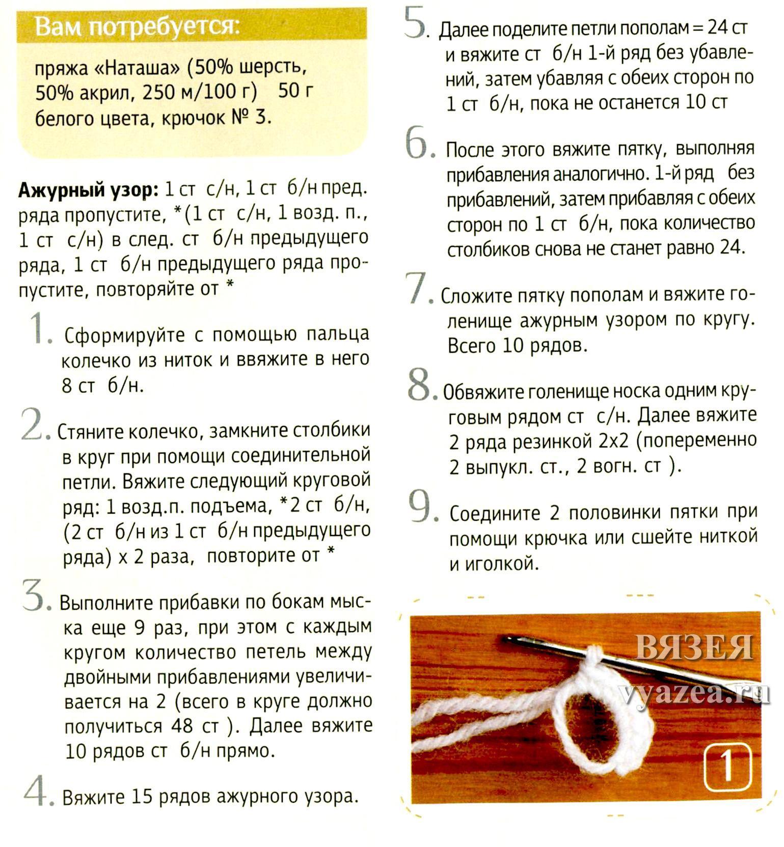 Вязание крючком от мыска