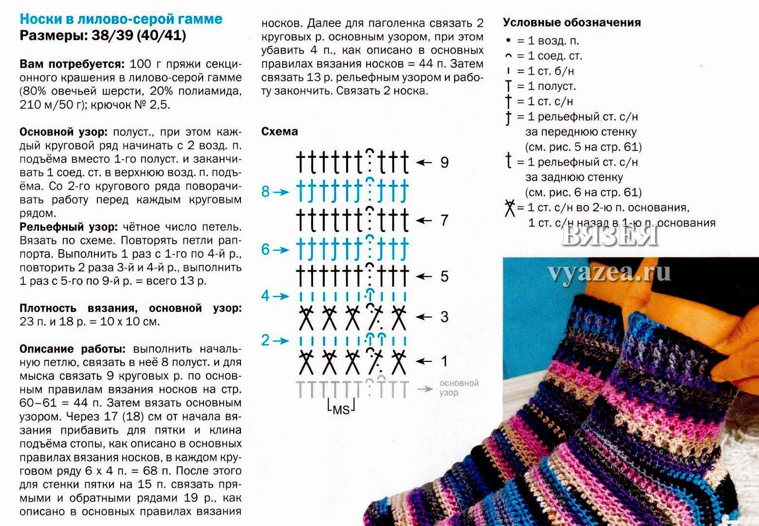 Пошаговые инструкции вязания крючком носков