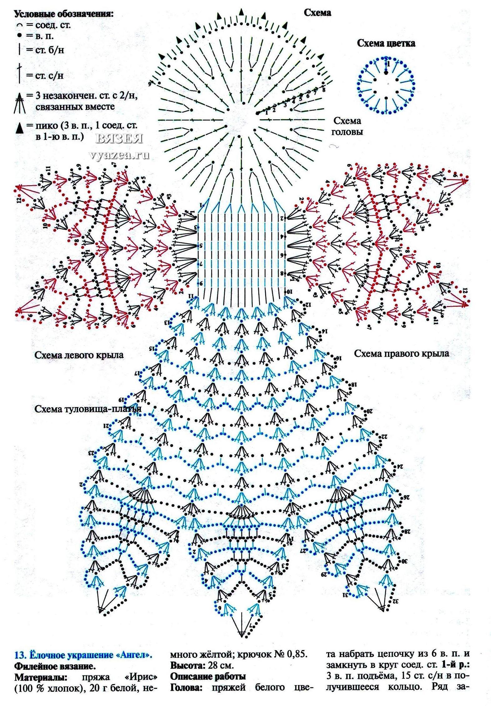 Ангел крючком, более 30 схем вязания со схемами и видео 84