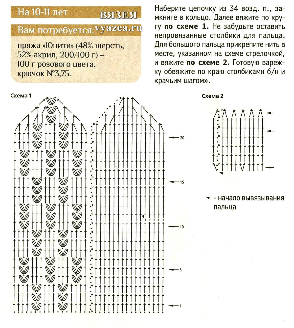 варежки крючком количество пряжи