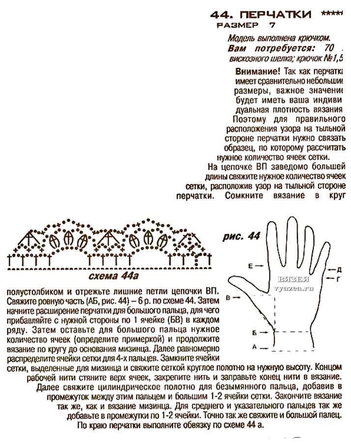 Схемы ажурных перчаток вязание крючком 63