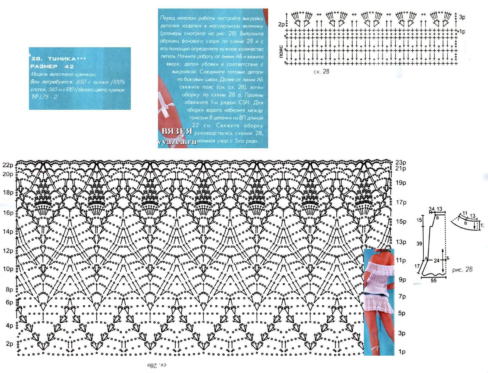 Схемы крючком оборок для юбок