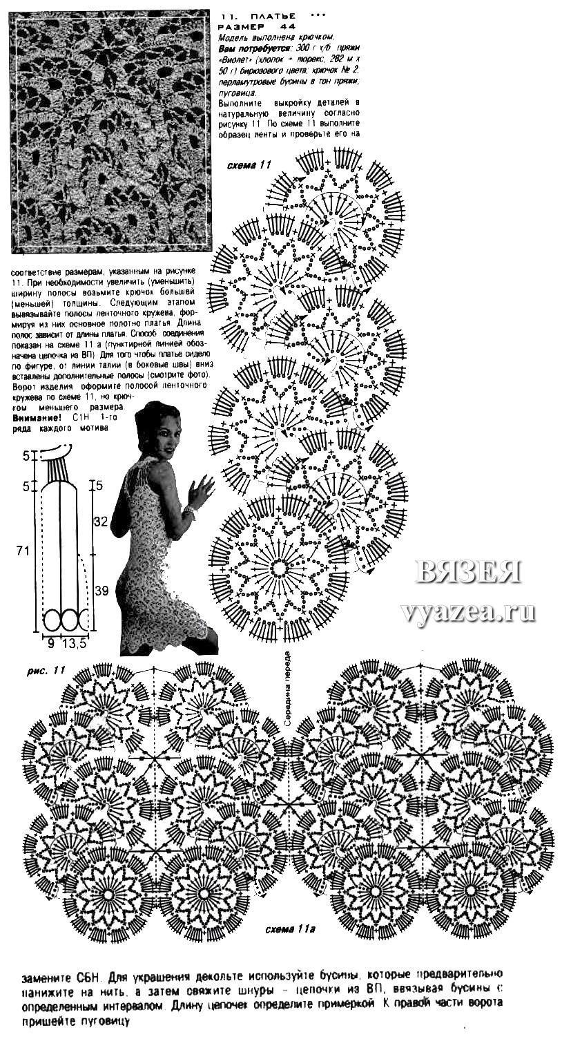 Вязание крючком моделей из ленточного кружева крючком