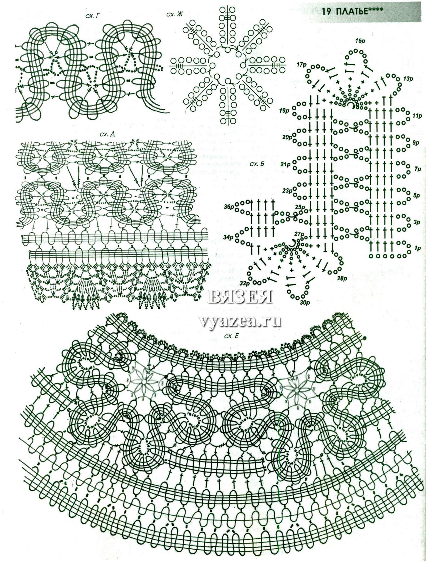 модные платье крючком описание схема