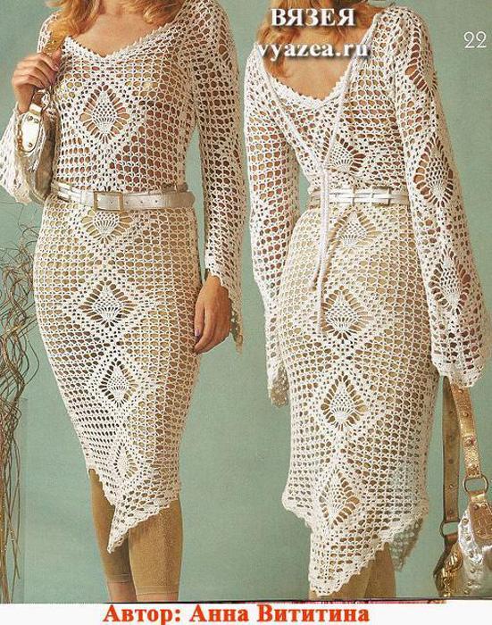 платье крючком филейное вязание схема