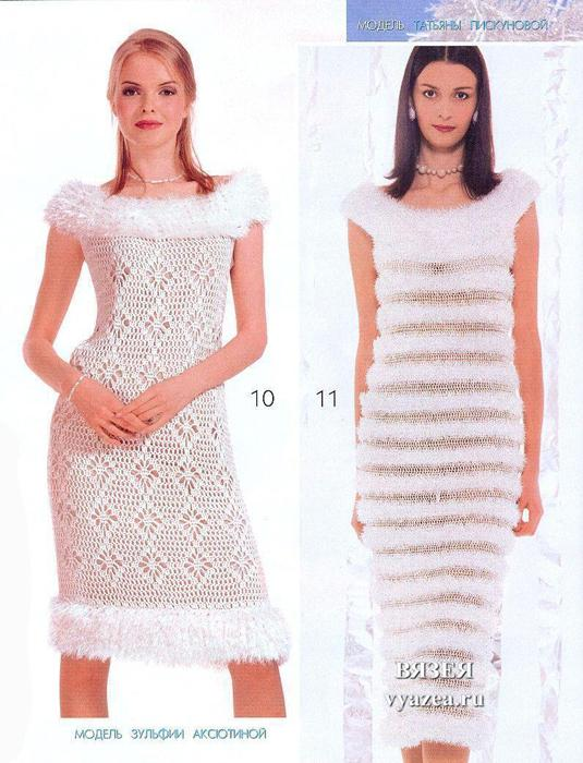 Вязаные платья на спицах на новый год