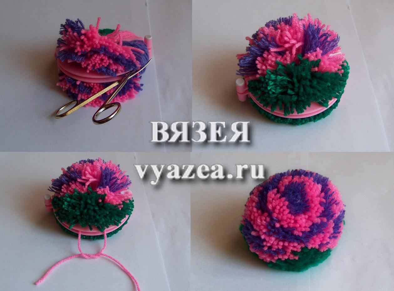 Как сделать помпон на шапку из пряжи или ниток - Мастер класс 20