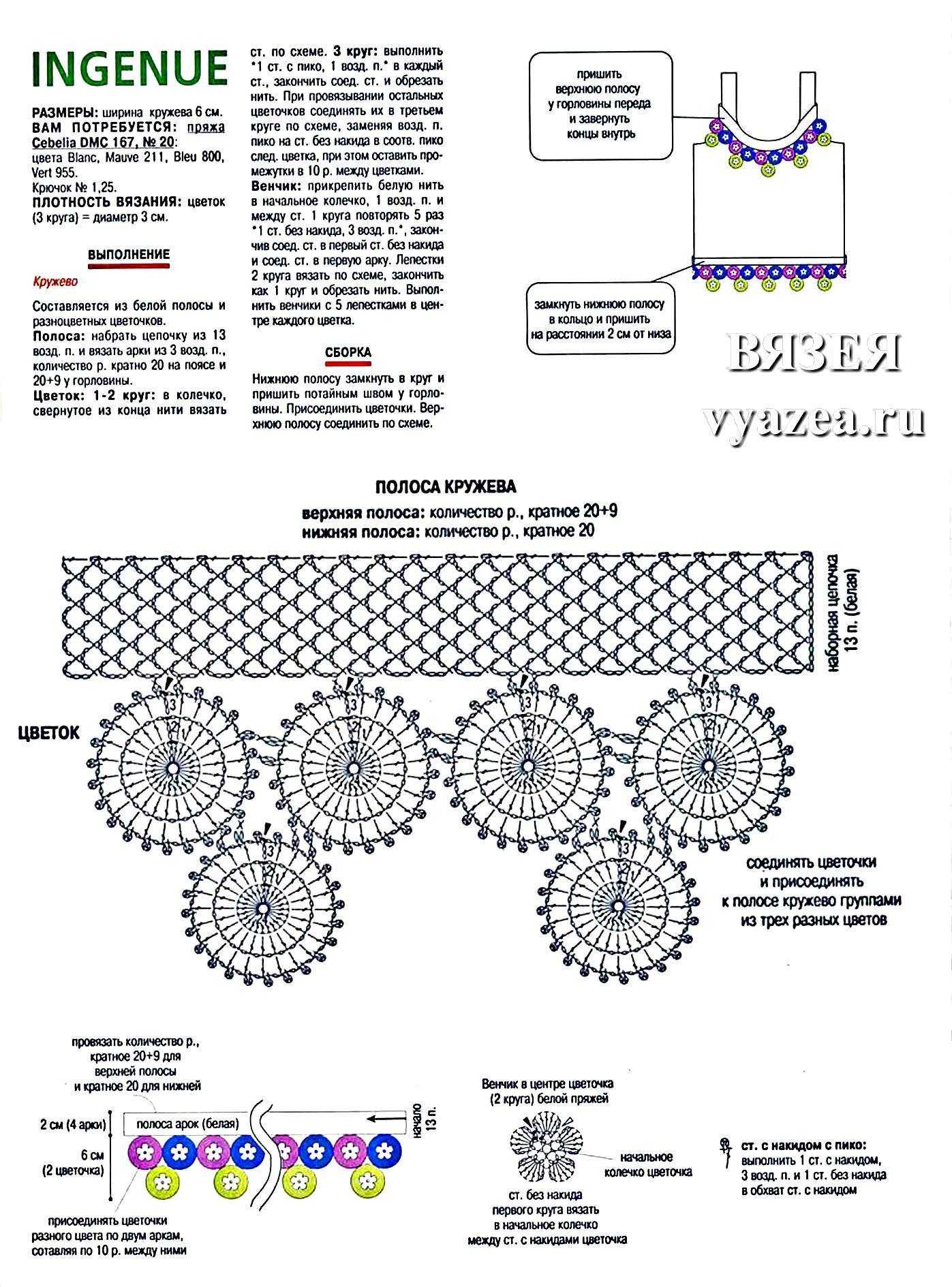 Как связать пояс крючком схема