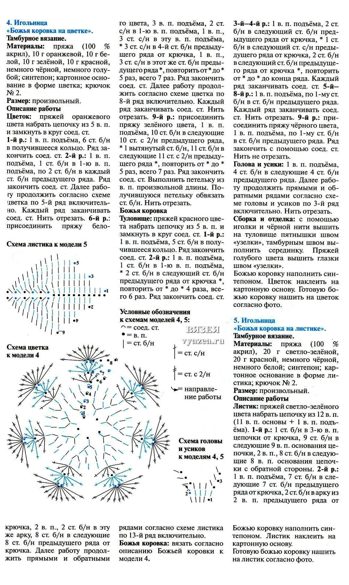 Схема для вязания крючком игольницы схемы