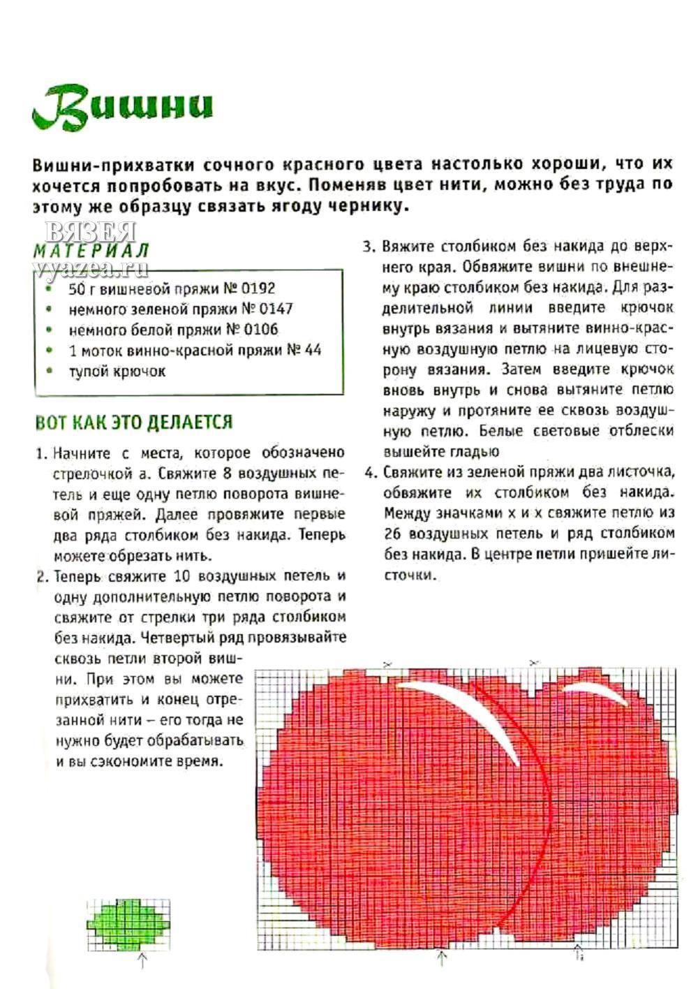 Прихватка ягодка схема и описание