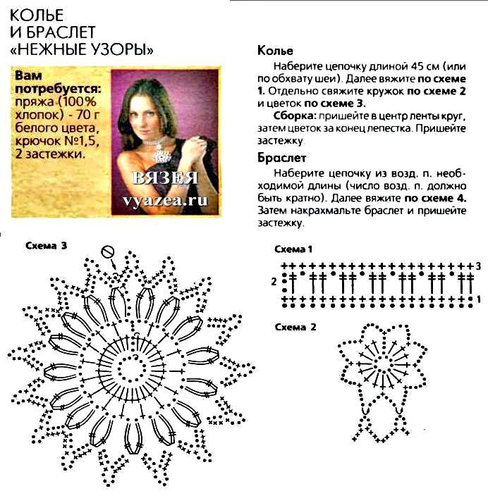 Схемы для вязания крючком браслеты 72