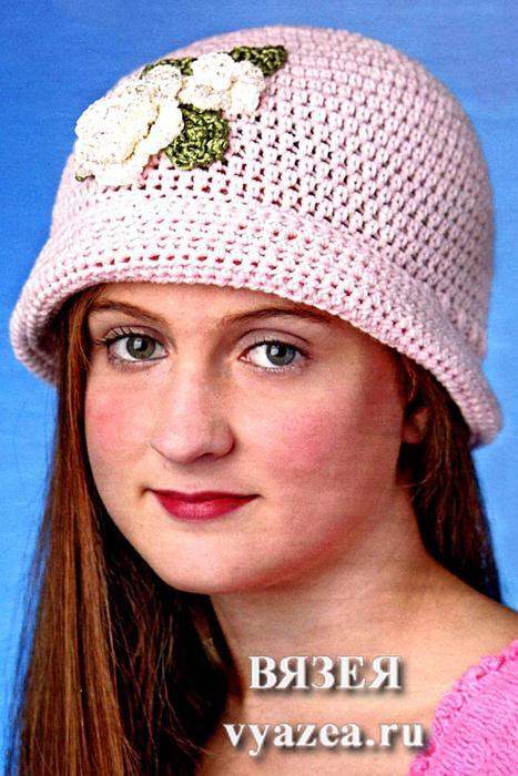 Вяжем крючком шапочки для взрослых 177