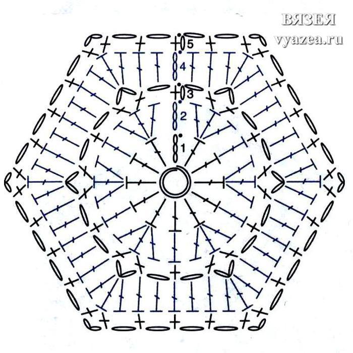 Шестиугольный мотив крючком: