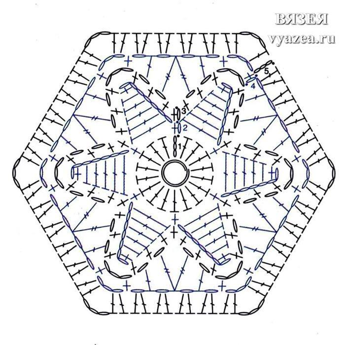 шестиугольные мотивы крючком схема