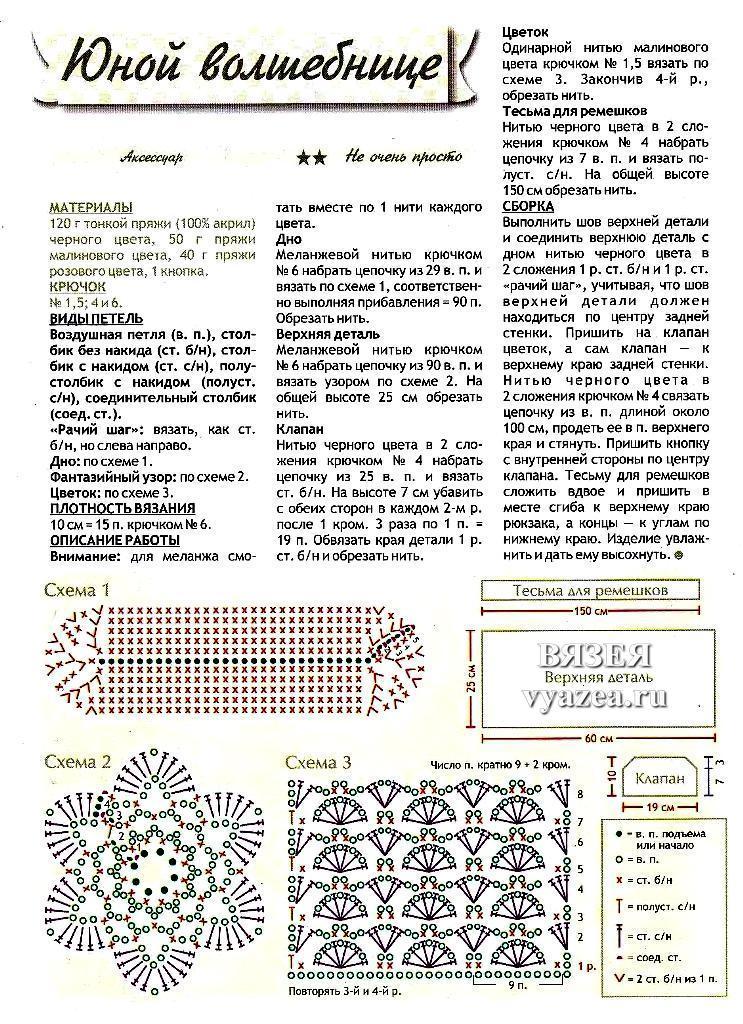 Вязание крючком схемы рюкзаков 61