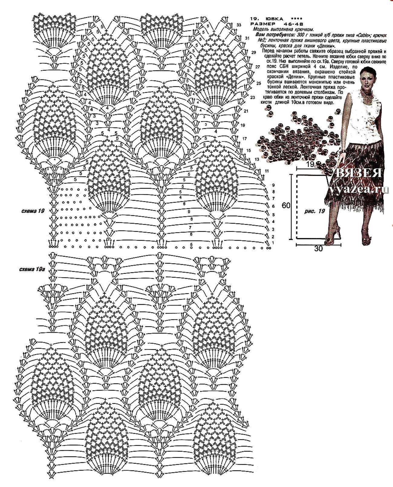 Вязание крючком юбок ананас с описанием