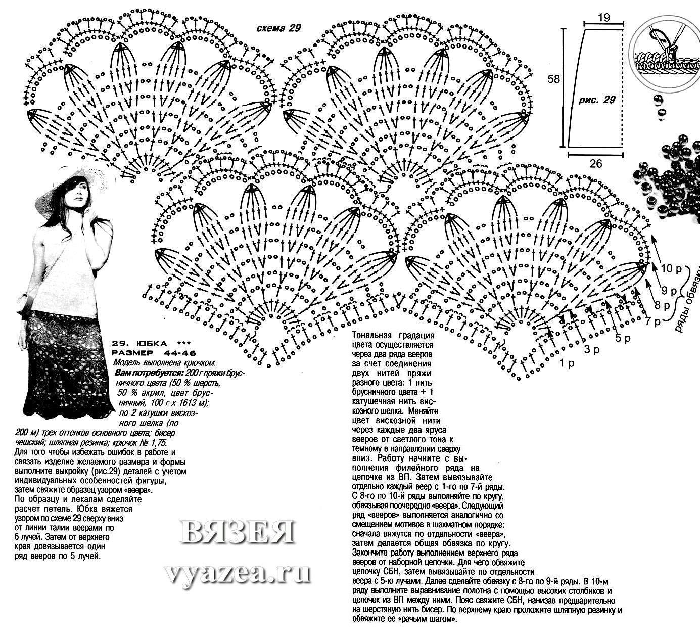 Юбка крючком со схемами вязания. Детские и женские вязаные юбки