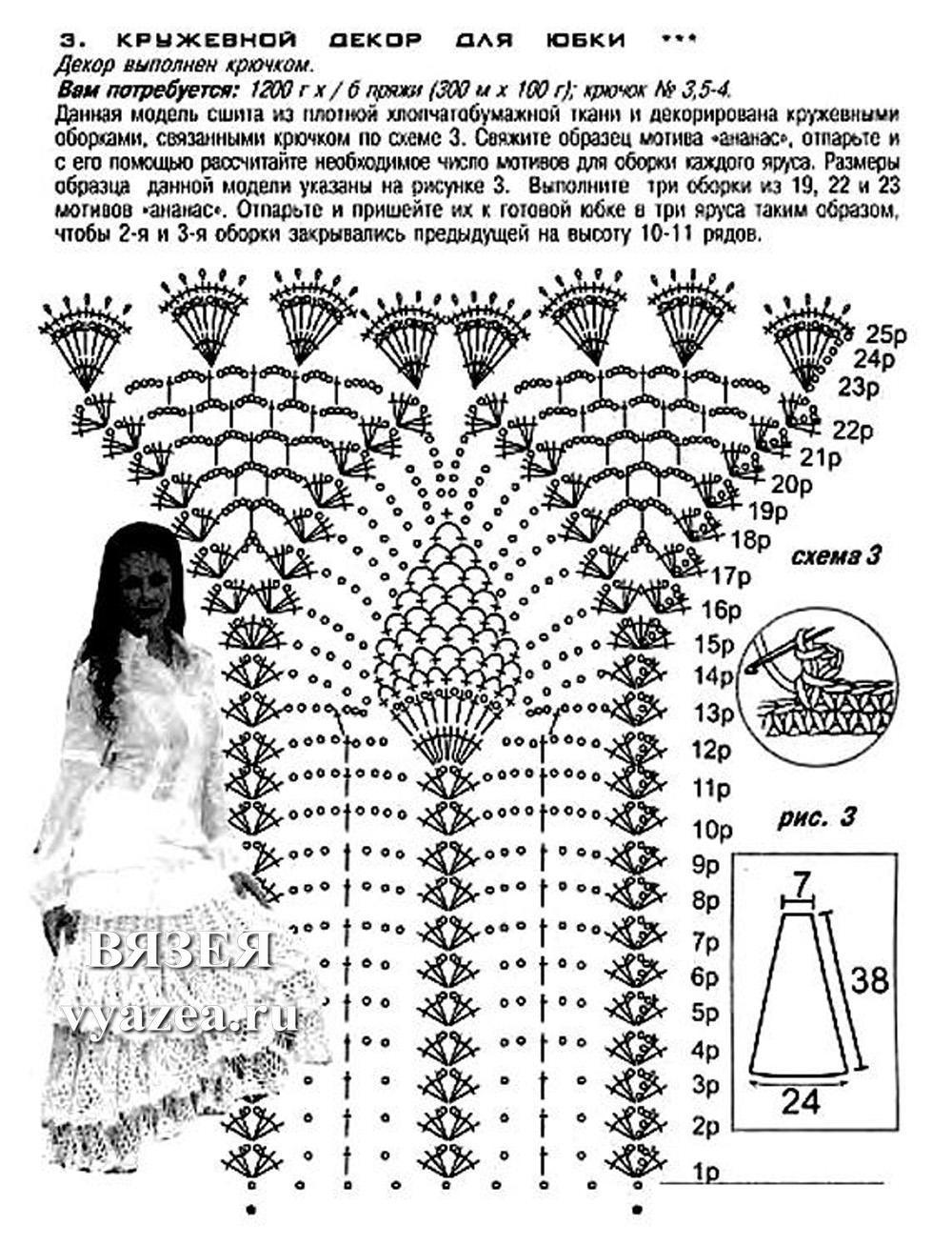 схема прямой юбки крючком